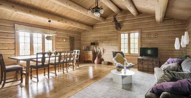 Stor stue med plass til spisebord og sofagruppe