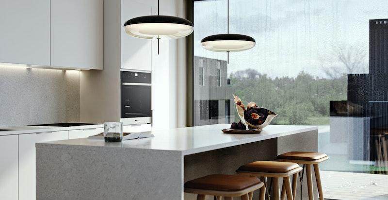 Moderne kjøkken fra HTH. Flere vederlagsfrie fargevalg på fronter og lameller (eik, natur, hvit eik eller sort eik)