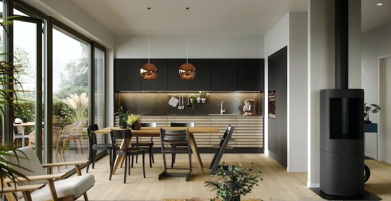 Illustrasjon stue/kjøkken.