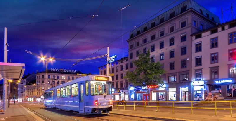 God tilgang på kollektivtransport fra Majorstukrysset med T-bane, trikk og buss