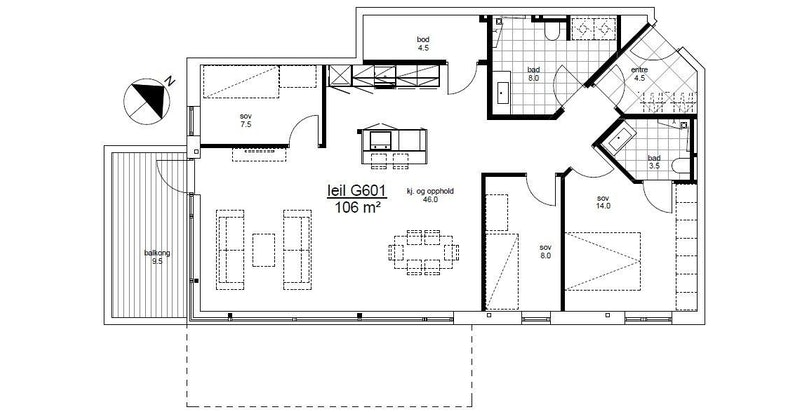 Plantegning leilighet G601 i Magasinparken 22. Garasjeplass og sportsbod medfølger. Heis til leilighetsplan.