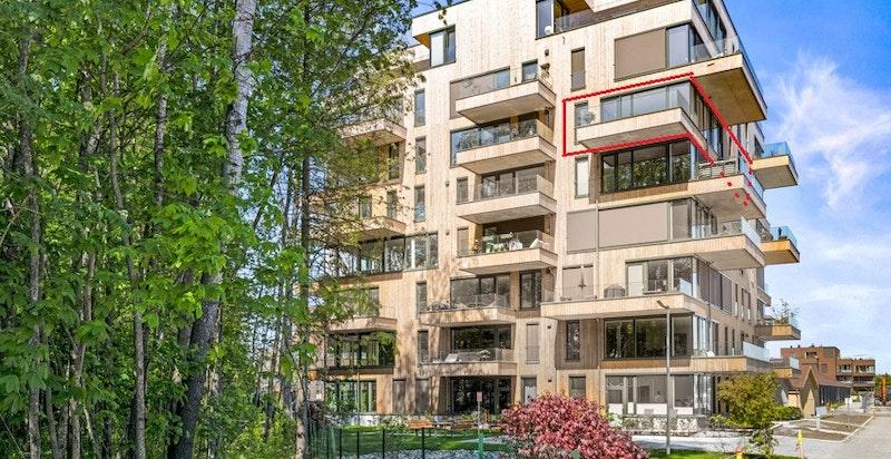 Velkommen til ny leilighet i Magasinparken 22, 6. etasje (se rød markør for boligens beliggenhet),