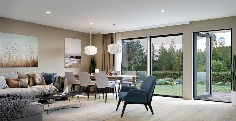 Store vindusflater og terrasse eller balkong. Illustrasjonsbilde