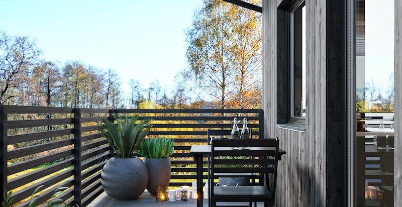 Solrike uteplasser med utsyn og god plass. Kun ment som illustrasjon
