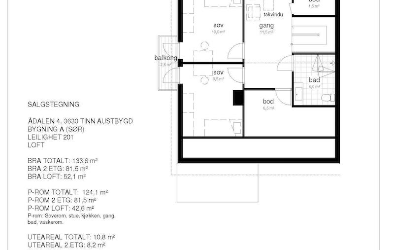 Salgstegning A201 loft