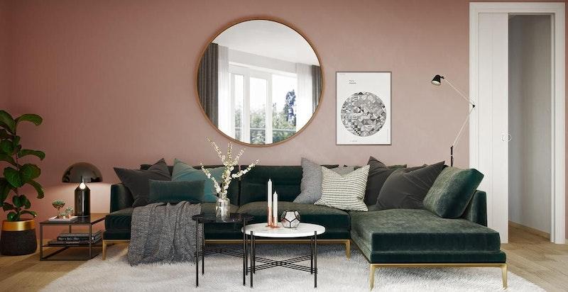 Kun av kunstnerisk illustrasjon- stue med moderne material- og fargevalg.