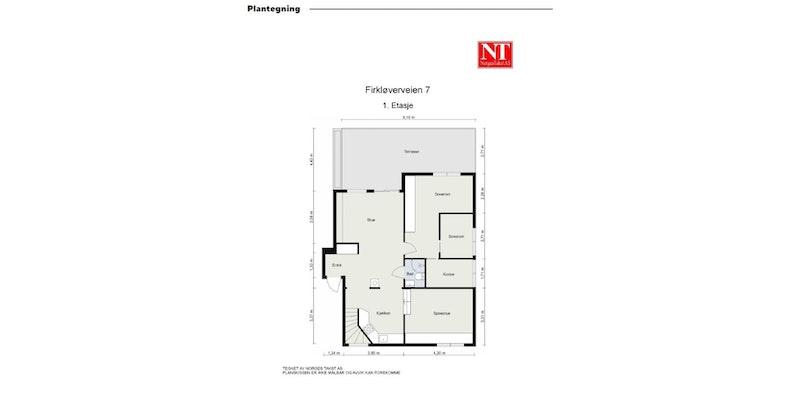 Plantegning av 1. etasje: Entré, stue, kjøkken, bad, spisestue, 3 (4) soverom. Mulig å etablere soverom der spisestuen er i dag.