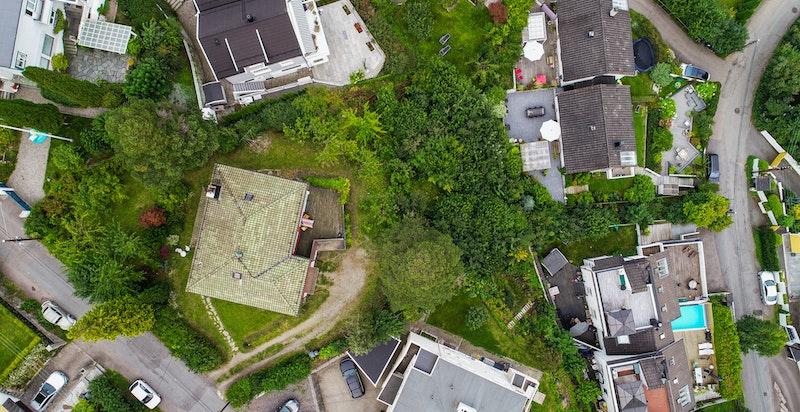 Fugleperspektiv av huset/tomten