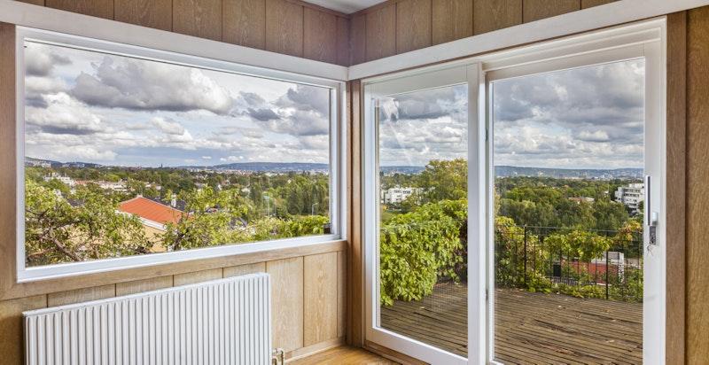 Stue med utgang sørvendt terrasse