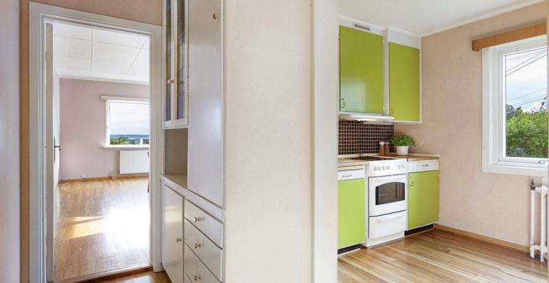 Kjøkken tilstøtende spisestue - her kan man åpne opp for en mer moderne løsning