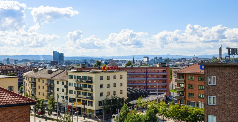 Utsikt fra den største takterrassen.