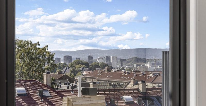 Utsikt fra soveromsvinduet.