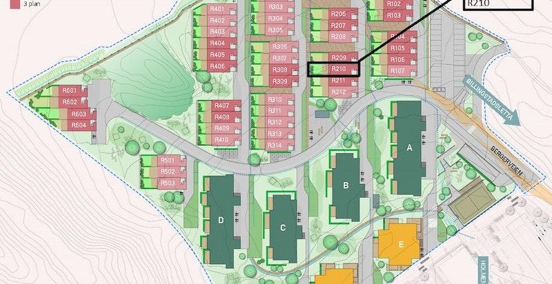 Markert intern beliggenhet. Rekken foran i lys rosa er 2 etasjes rekkehus.