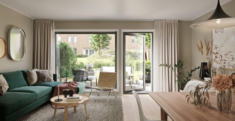 Stue plan 1 boligtype 123 kvm. Vannbåren gulvvarme og utgang til egen, privat hage. Illustrasjon.