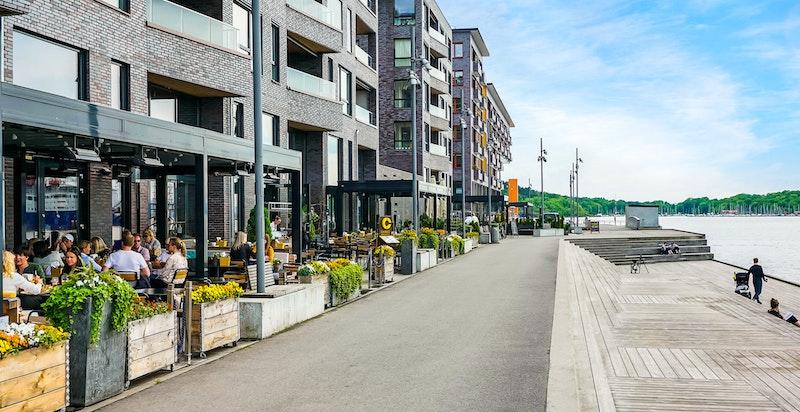 En av fordelene med denne boligen er at den ligger tilbaketrukket fra restaurantlivet på Sørenga.
