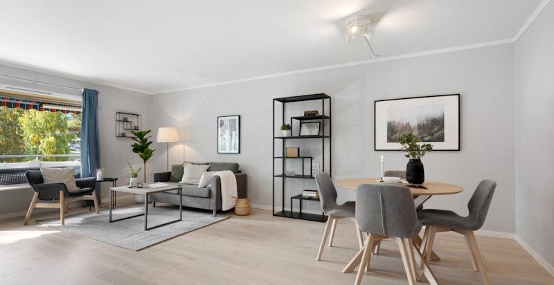 God plass til spisebord, sofa, TV-seksjon og øvrig ønsket møblement