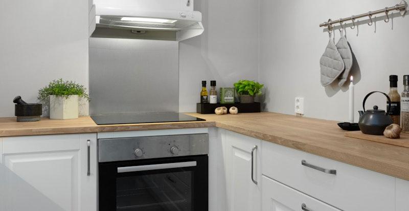 Kjøkkeninnredningen er fra Kvik, type Rimini