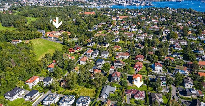 Kun 400 meter til Bygdøy skole og Kongeskogen barnehage