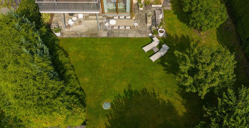 Hage og terrasse sett ovenfra