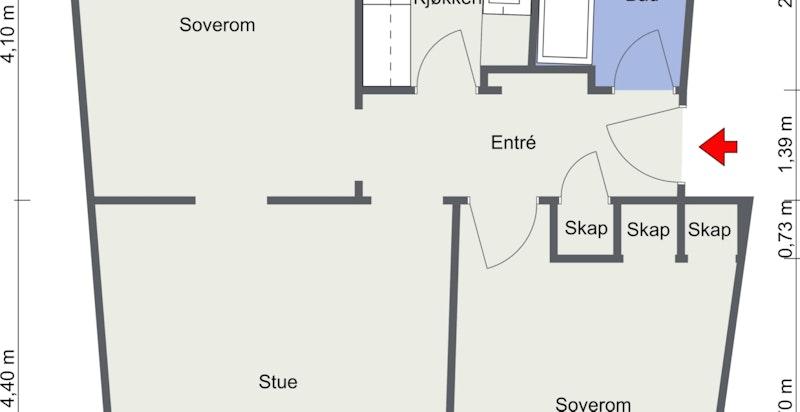 Professor Dahls gate 31 G. - 3. Etasje - Dagens løsning. Merk at det ikke er dør til det ene soverommet