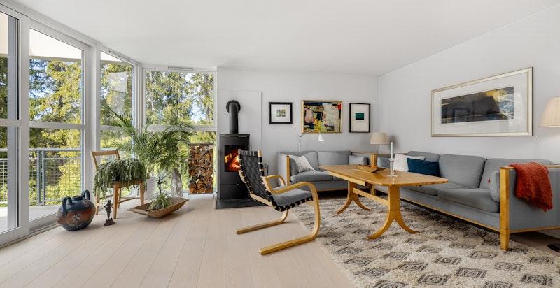 Stue med lekre gulv