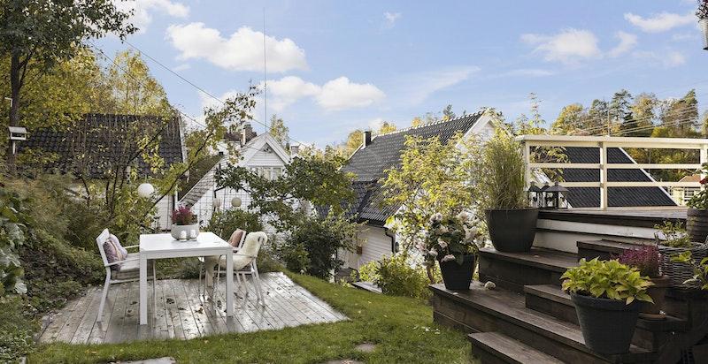 Terrasse med trapp både til veranda og videre ned i hagen