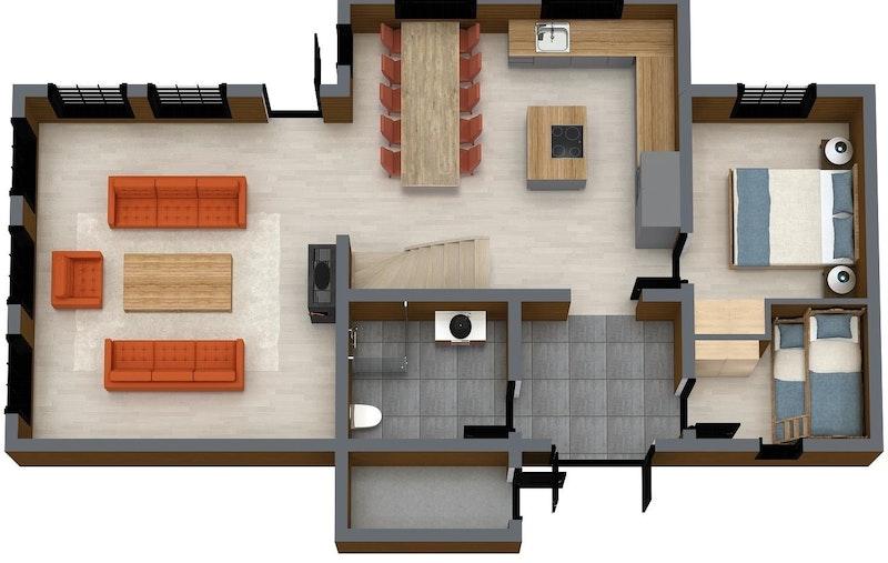 Oppstugu Planløsning 1. etasje. Kun ment som illustrasjon