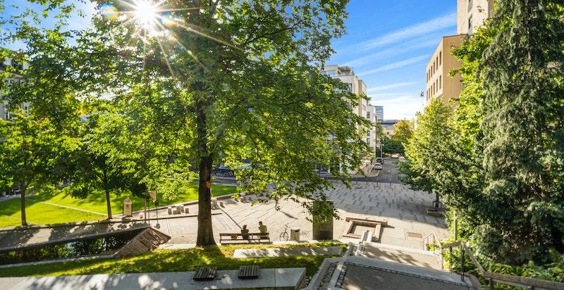 Uteområdene rundt Pilestredet park er grønne og fantastiske