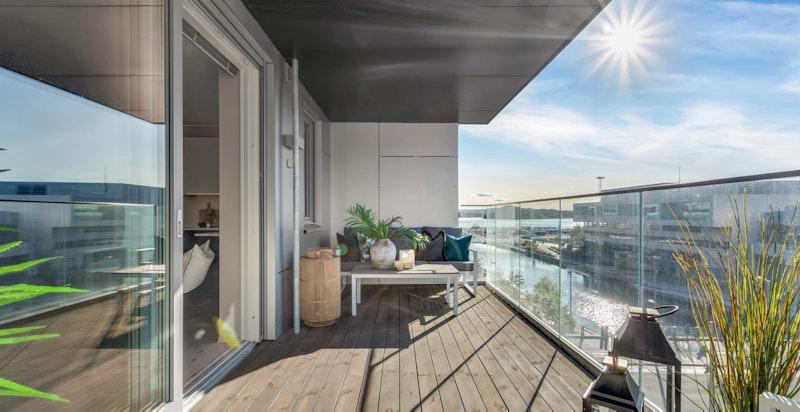 Utsikt fra balkongen.