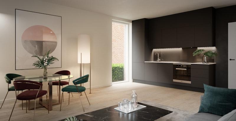 Bygården vil få 3, treromsleiligheter, 2 studio leiligheter og 2 to-romsleiligheter. Her er stuen i leilighet A1 vist.