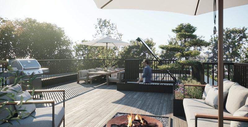 Penthouseleiligheten får også en stor og solrik takterrasse.