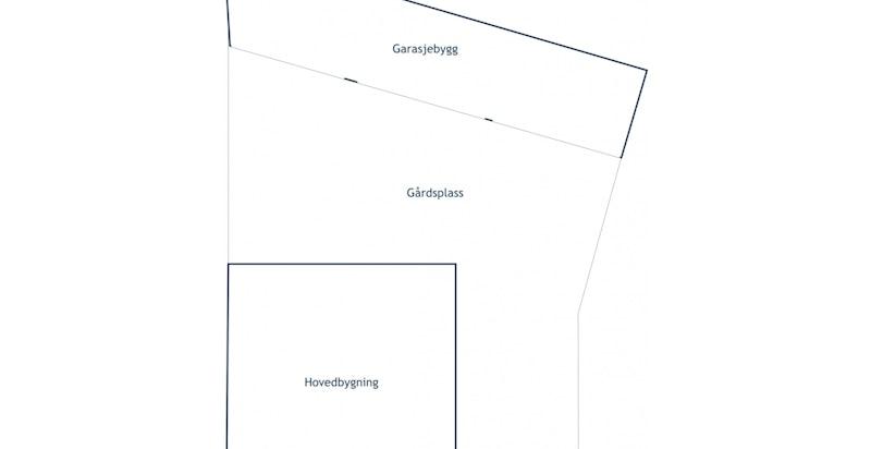Tomteriss - Det mulige utviklingsprosjektet ligger der hvor garasjen idag står.