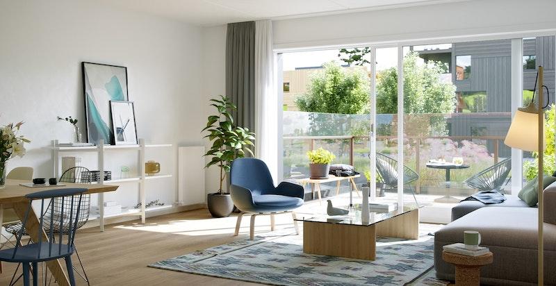 Kunstnerisk illustrasjon av stue