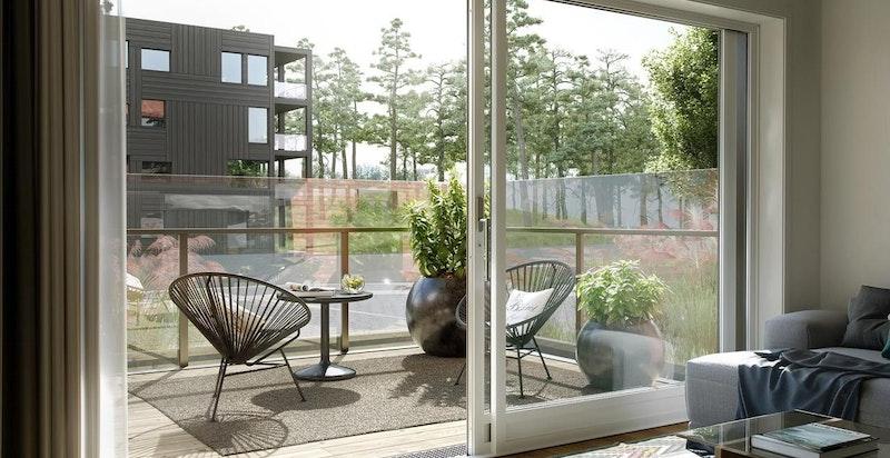 Kunstnerisk illustrasjon av lyse leiligheter med skyvedør/dør ut til uteplass