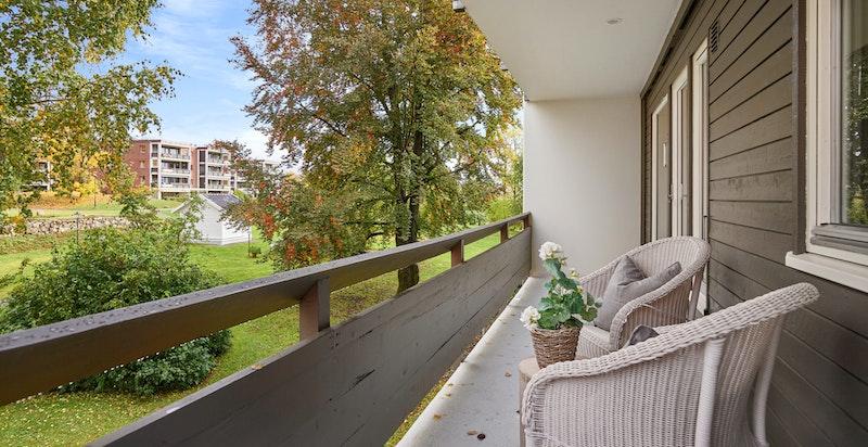 Nordvendt balkong på ca. 10m².