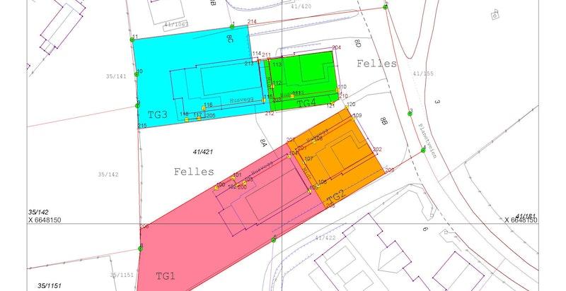 Kart tomtefordeling. Grønn farge markerer eksklusivt areal og hvit felles tomt