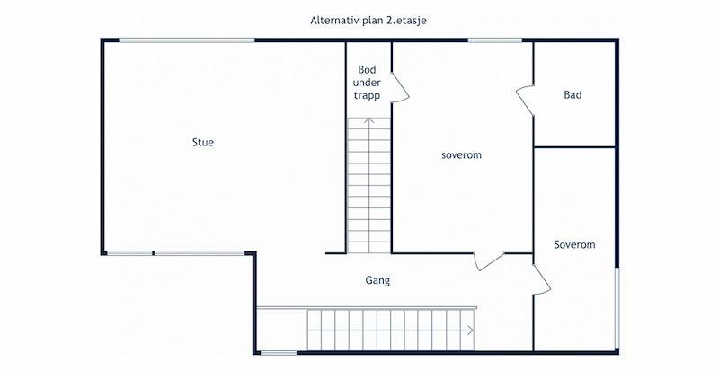 Alternativ planskisse 2. etasje med ekstra soverom