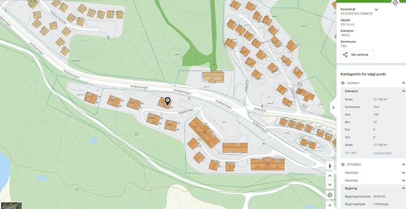 Kvitåvatnvegen 488 zoomet inn kommunekart.com