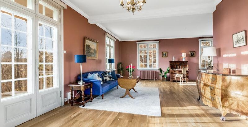 Luftig og lys stue med gode vindusflater og utgang terrasse og hage