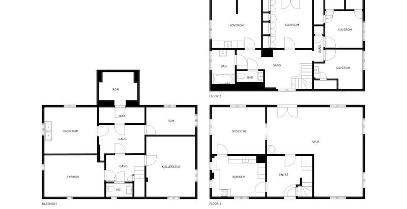 2d plan over alle etasjene