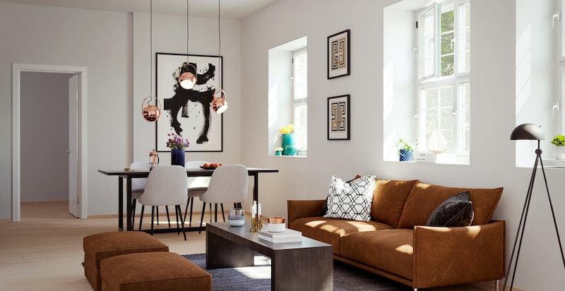 Illustrasjonsbilde fra leilighet C207. Moderne overflater og planløsning. God takhøyde og klassiske vinduer. Avvik vil forekomme