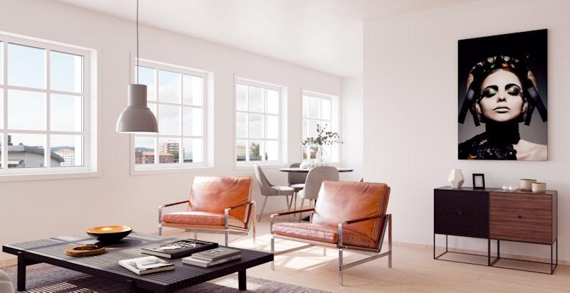 Illustrasjonsbilde fra leilighet C302 i Administrasjonsblokka. Store vindusflater mot utsikten. Avvik vil forekomme