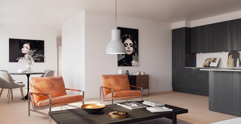 Illustrasjonsbilde fra leilighet C302 i Administrasjonsblokka. Tilbaketrukket kjøkkenløsning og moderne planløsning. Avvik vil forekomme