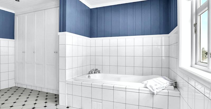 -Badekar med flislagt omramming-