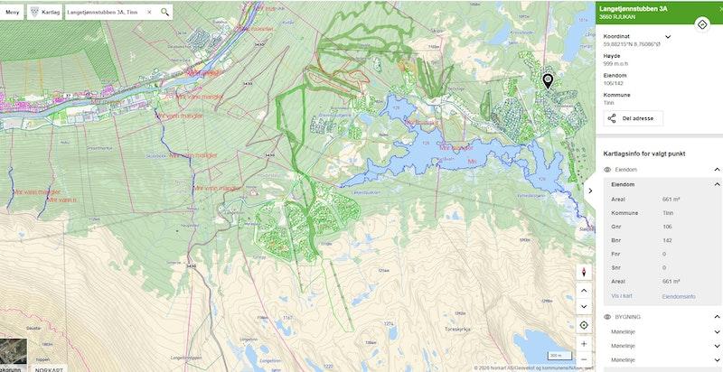 Langetjønnstubben 3A i Gaustaområdet på kommunekart.com