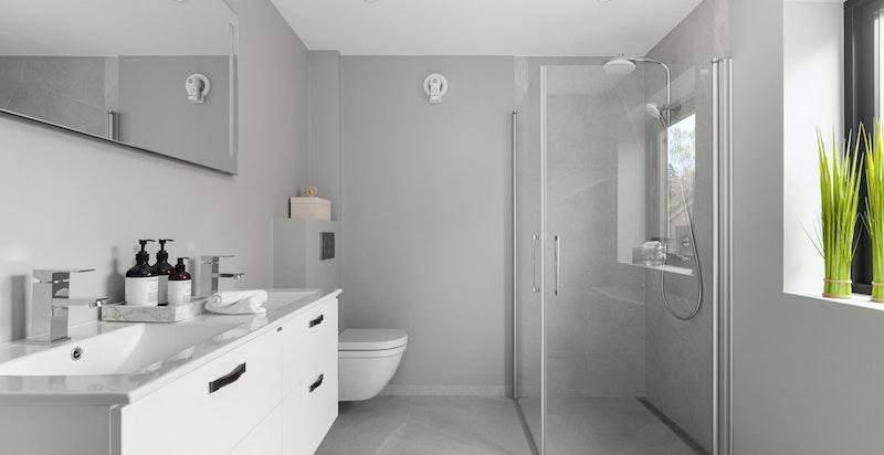 Delikat hovedbad med opplegg for badekar