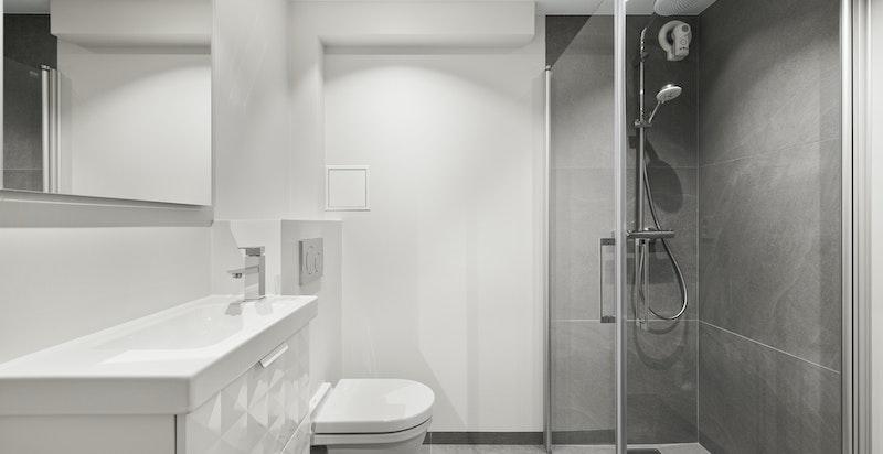 Flislagt bad tilknytttet kjellerstue og soverom. Opplegg vaskemaskin