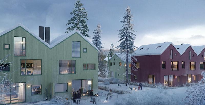 Illustrasjon vinter. Hus B til venstre, Hus C til høyre. Hus E ses i bakgrunnen.