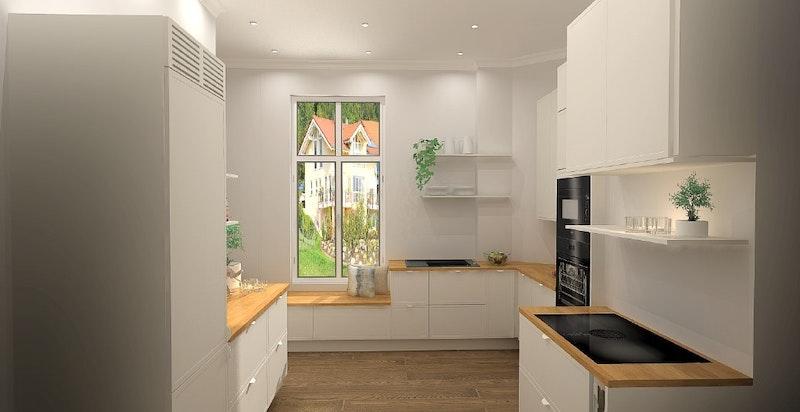 Det vil i løpet av April 2021 bli satt inn et helt nytt kjøkken fra Strai med kvalitets hvitevarer