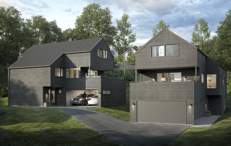 Husene som det er gitt rammetillatelse til er tegnet av Ramsfjell arkitekter- Illustrasjonsfoto- avvik kan forekomme.